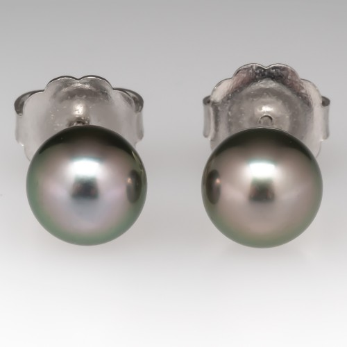 Mikimoto 8MM Black South Sea Pearl Stud Earrings 18K Grade A+