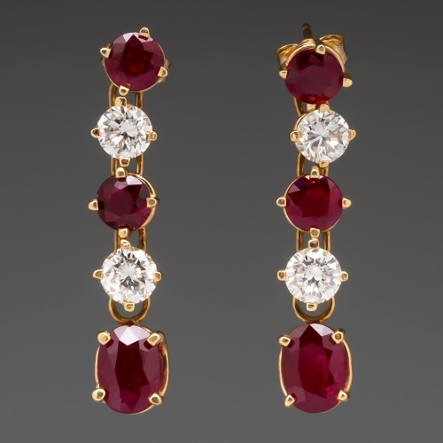"Vintage Ruby & Diamond Dangle Earrings 14K Gold 1 1/4"" Long"