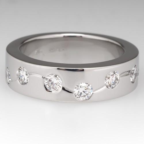 Mens Heavy Platinum Diamond Band Ring 1CTW 5MM Wide