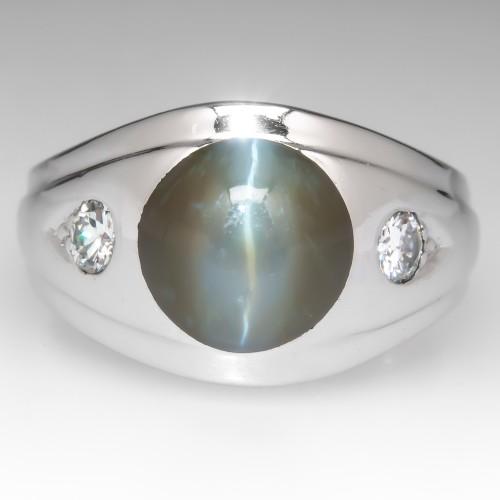 Vintage Mens Cats Eye Chrysoberyl Pinky Ring 14K White Gold
