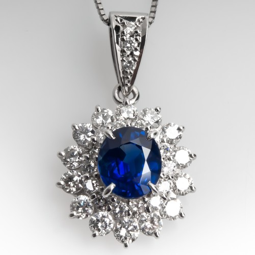 1.8CT Rich Blue Sapphire & Diamond Pendant Necklace Platinum