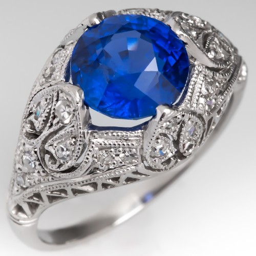 No Heat Bright Blue Sapphire Engagement Ring Platinum Filigree