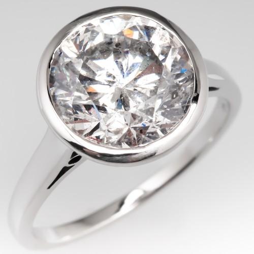 4 Carat Round Brilliant Diamond Bezel Engagement Ring
