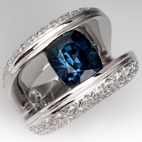 Bold & Massive Blue Green Sapphire & Diamond Ring Platinum