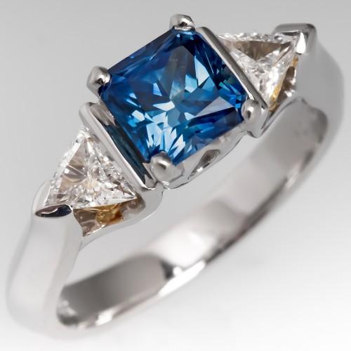 Square Montana Sapphire Three Stone Engagement Ring w/ Triangle Diamonds
