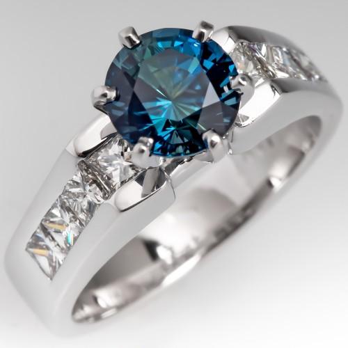 No Heat Vibrant Blue Green Sapphire & Diamond Engagement Ring 14K