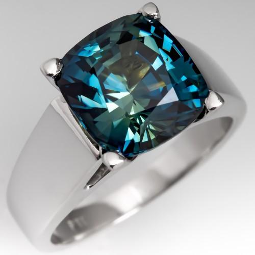 No Heat 5 Carat Cushion Cut Blue Green Sapphire Solitaire Ring Platinum