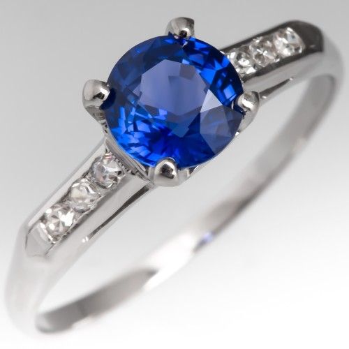 Electric Blue Sapphire Engagement Ring Vintage Platinum Mount