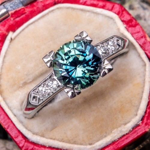 No Heat Green Sapphire Engagement Ring Vintage Platinum Mount