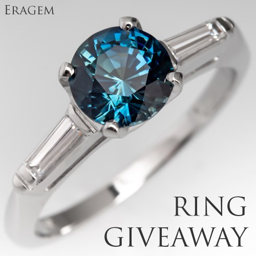 Tag A Friend Christmas Giveaway - No Heat Blue Green Sapphire Engagement Ring 1960's Platinum Mount
