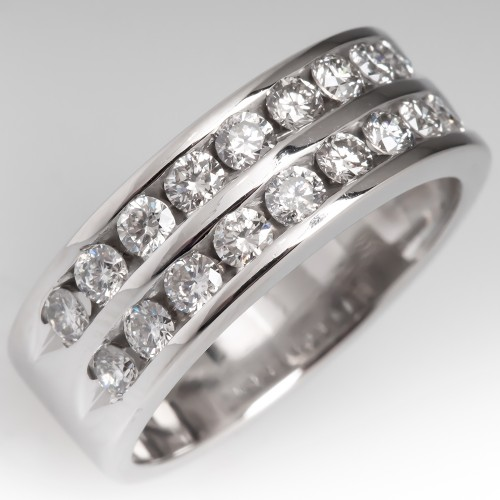 1 Carat Double Row Channel Set Diamond Wide Band Ring 14K