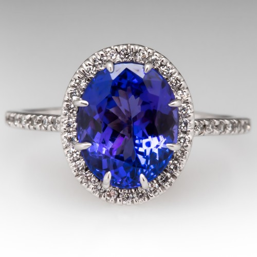 3 Carat Tanzanite & Diamond Halo Engagement Ring 18K