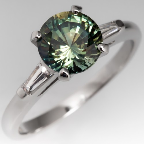 Untreated Vibrant Green Sapphire Engagement Ring 1960's Platinum Mount