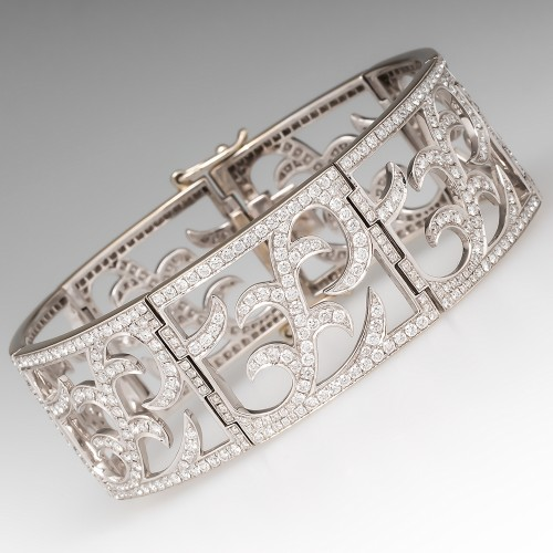 Ornate 7 Carat Diamond Wide Cuff Bracelet 18K Gold 7.5-Inch