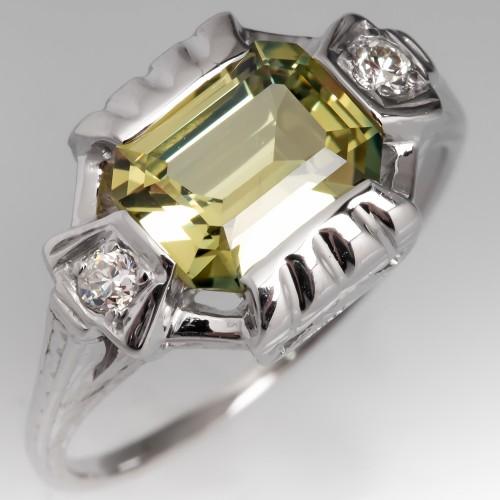 Emerald Cut No Heat Yellow Green Sapphire Ring 18K
