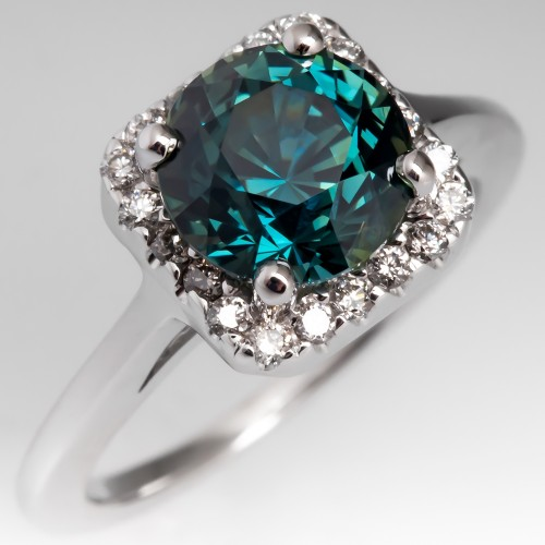 No Heat Green Blue Sapphire Engagement Ring Diamond Halo