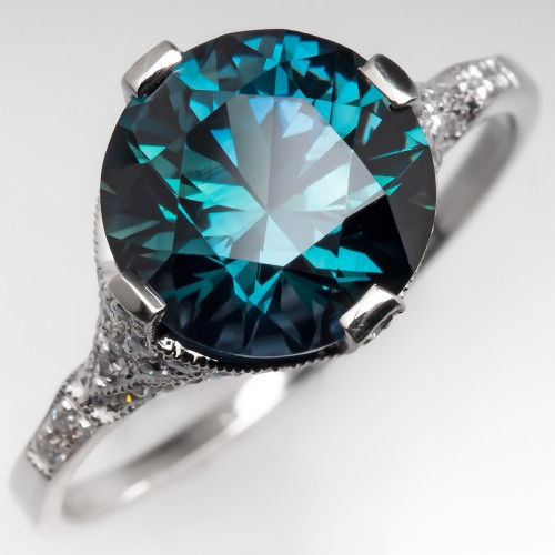 Peacock Green Blue Sapphire Engagement Ring Platinum