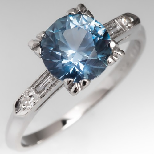 No Heat 2.5 Carat Montana Sapphire Engagement Ring 1940's Platinum Mount