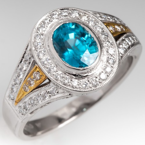 Simon G Blue Zircon & Diamond Halo Engagement Ring Platinum & 18K