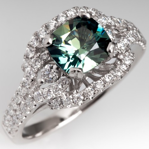 Untreated Green Sapphire & Diamond Halo Engagement Ring Platinum