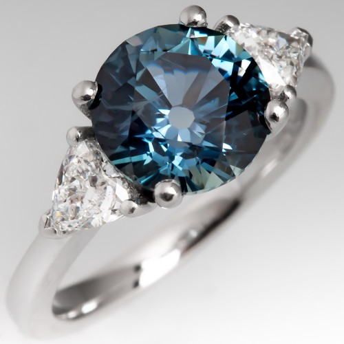 Montana Sapphire Engagement Ring w/ Triangle Diamonds 2.8 Carat No Heat