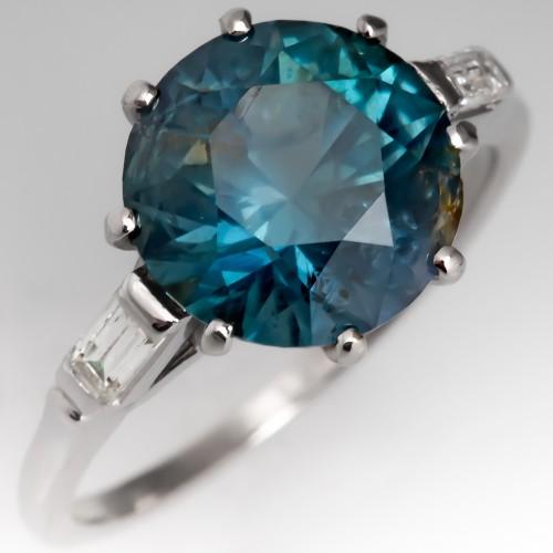 4 Carat No Heat Montana Sapphire Engagement Ring Platinum