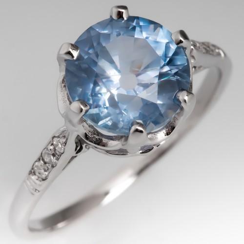 No Heat 2.6 Carat Montana Sapphire Crown Engagement Ring 14K