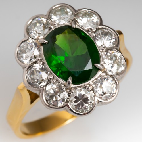 AGL Certified Untreated Demantoid Garnet & Diamond Halo Ring