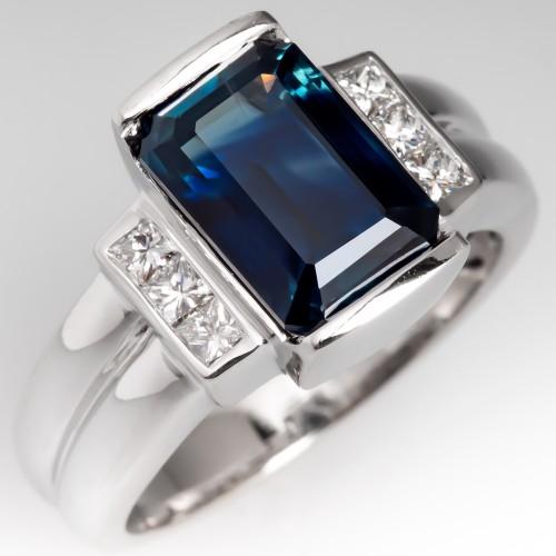 Emerald Cut 3.9CT Untreated Dark Blue Green Sapphire Ring 18K