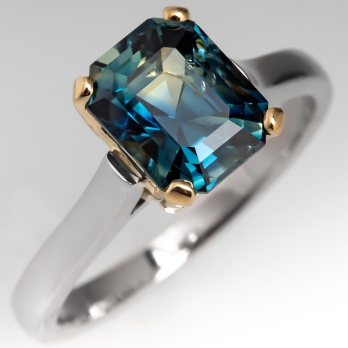No Heat Blue Green Sapphire Solitaire Engagement Ring Platinum & 18K