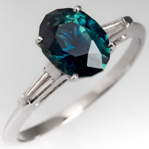 Dark Blue Green No Heat Sapphire Engagement Ring Tapered Baguettes