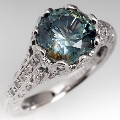 3.6 Carat No Heat Montana Sapphire Engagement Ring Filigree 14K