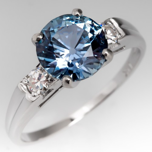 2.3CT No Heat Montana Sapphire Engagement Ring Vintage Mount
