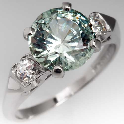 Light Blue Green Untreated Montana Sapphire Engagement Ring Vintage Mount