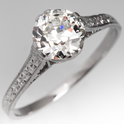 1 Carat Old Euro Diamond 1920's Engagement Ring Engravings Solitaire