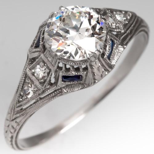 1 Carat Old Euro Platinum Art Deco Engagement Ring