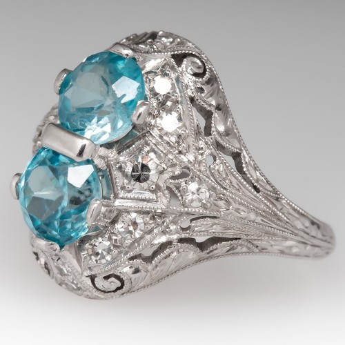 Vintage Twin Blue Zircon & Diamond Filigree Platinum Ring