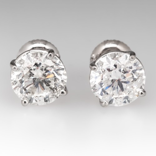 4 Total Carat Round Brilliant Diamond 4-Prong Stud Earrings 14K Screw Backs