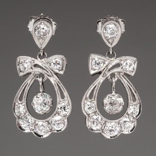 Beautiful Antique Dangle Earrings Old Mine & Euro Cut Diamonds