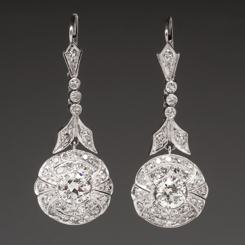 Antique Diamond Drop Dangle Earrings Platinum Highly Detailed