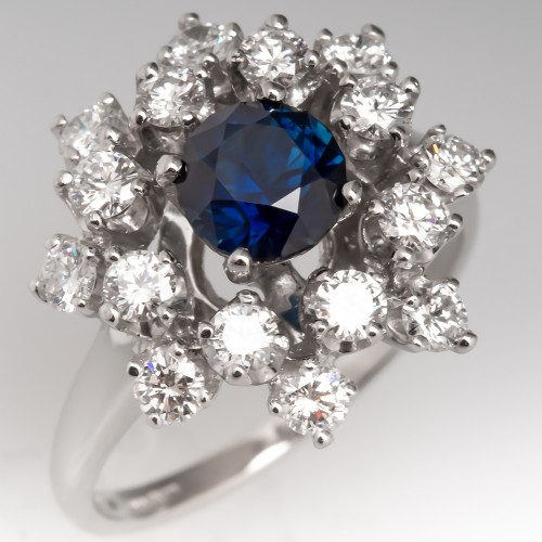 Untreated Dark Blue Sapphire & Diamond Cocktail Ring Platinum