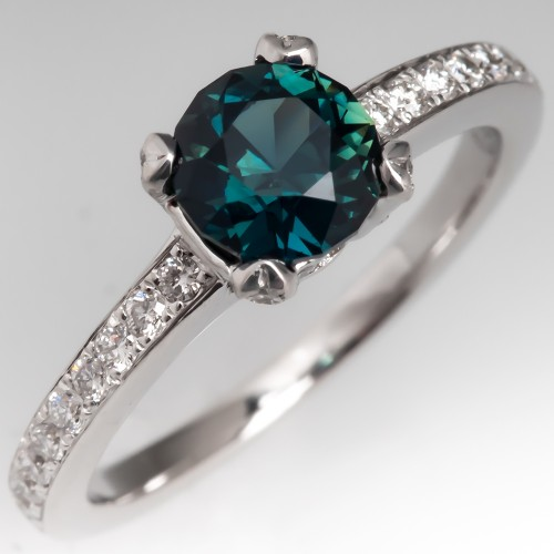 No Heat Rich Teal Sapphire Engagement Ring Diamond Accents 18K