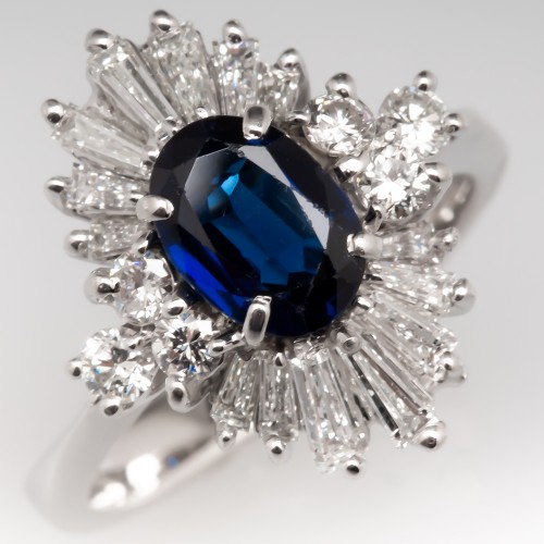 Vintage Blue Sapphire & Diamond Ballerina Engagement Ring 14K