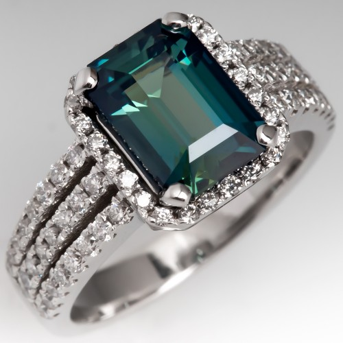 No Heat Emerald Cut Blue Green Sapphire Engagement Ring 18K