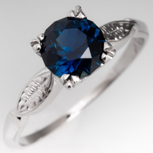 1.3CT No Heat Dark Blue Sapphire Engagement Ring Vintage 14K Mount