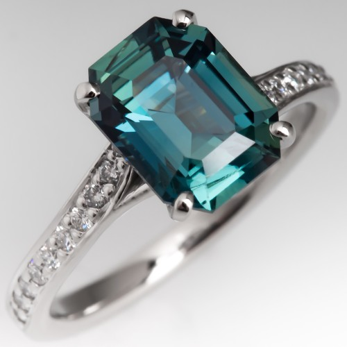 3 Carat Emerald Cut No Heat Blue-Green Sapphire Engagement Ring