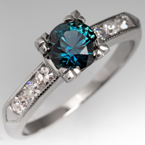 No Heat Teal Sapphire Engagement Ring 1940's Platinum Mount