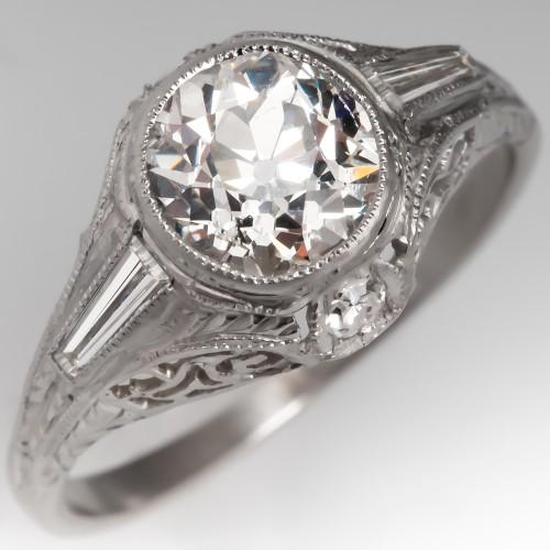 GIA Vintage Filigree Engagement Ring Old Euro Diamond Platinum