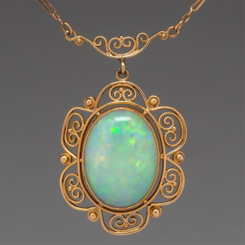 Large Vibrant Crystal Opal Pendant Necklace 14K & 10K Gold