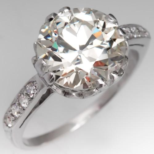 GIA 2.7 Carat Old Euro Diamond 1920's Engagement Ring Platinum